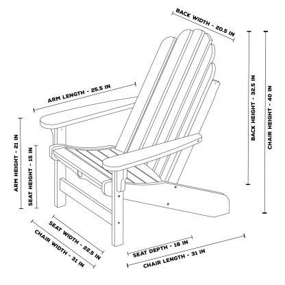 Essentials Adirondack Chair Dimensions