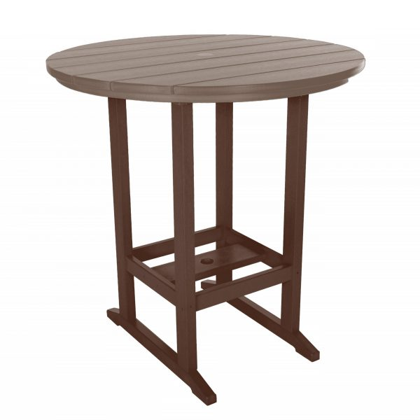 Round Bar Height Dining Table - HDT1 - Chocolate/Weatherwood