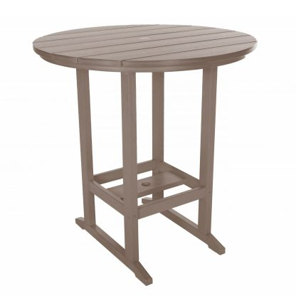 Round Bar Height Dining Table - HDT1 - Weatherwood
