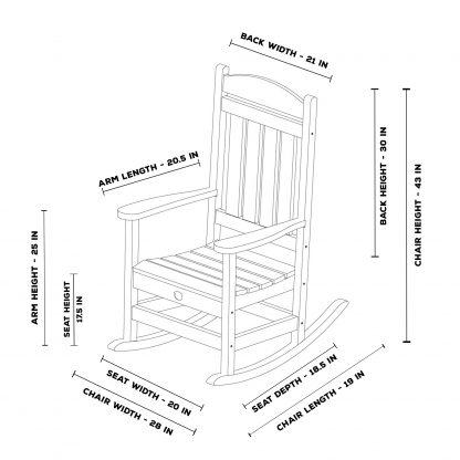 Porch Rocker - SRPR1 - dimensions