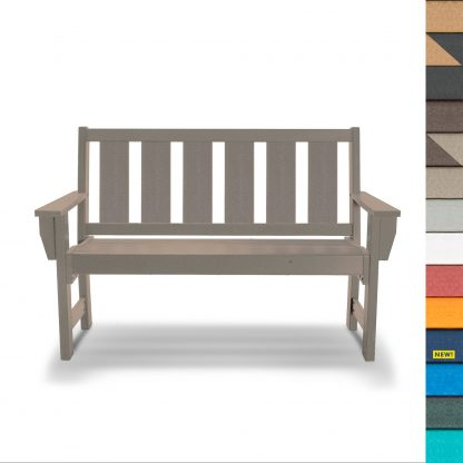 Refined Bench in Weatherwood - HHBN1 - multicolor blocks (with navy)