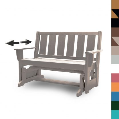 Refined Glider Bench in Weatherwood- HHGL1 - with multicolor blocks (no navy)