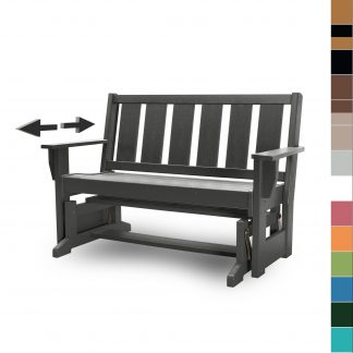 Refined Glider Bench in Black - HHGL1 - with multicolor blocks (no navy)