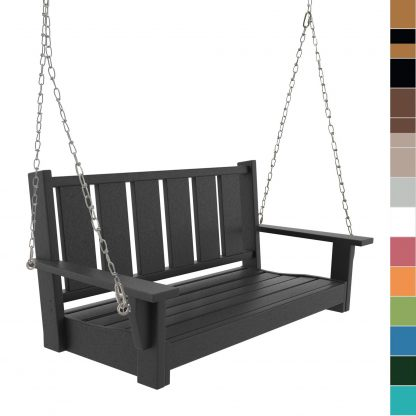 Hatteras Double Bench Porch Swing - multicolored blocks