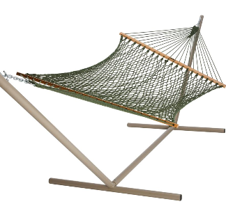 PC-13CWVGM 55 in. Green Polyester Rope Hammock